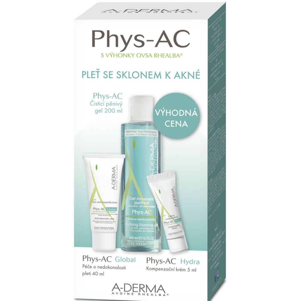 A-DERMA Phys-AC Čisticí gel 200 ml+Global 40 ml+ Hydra 5ml