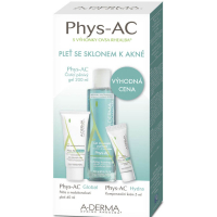 A-DERMA Phys-AC Čisticí gel 200 ml + Global 40 ml + Hydra 5 ml