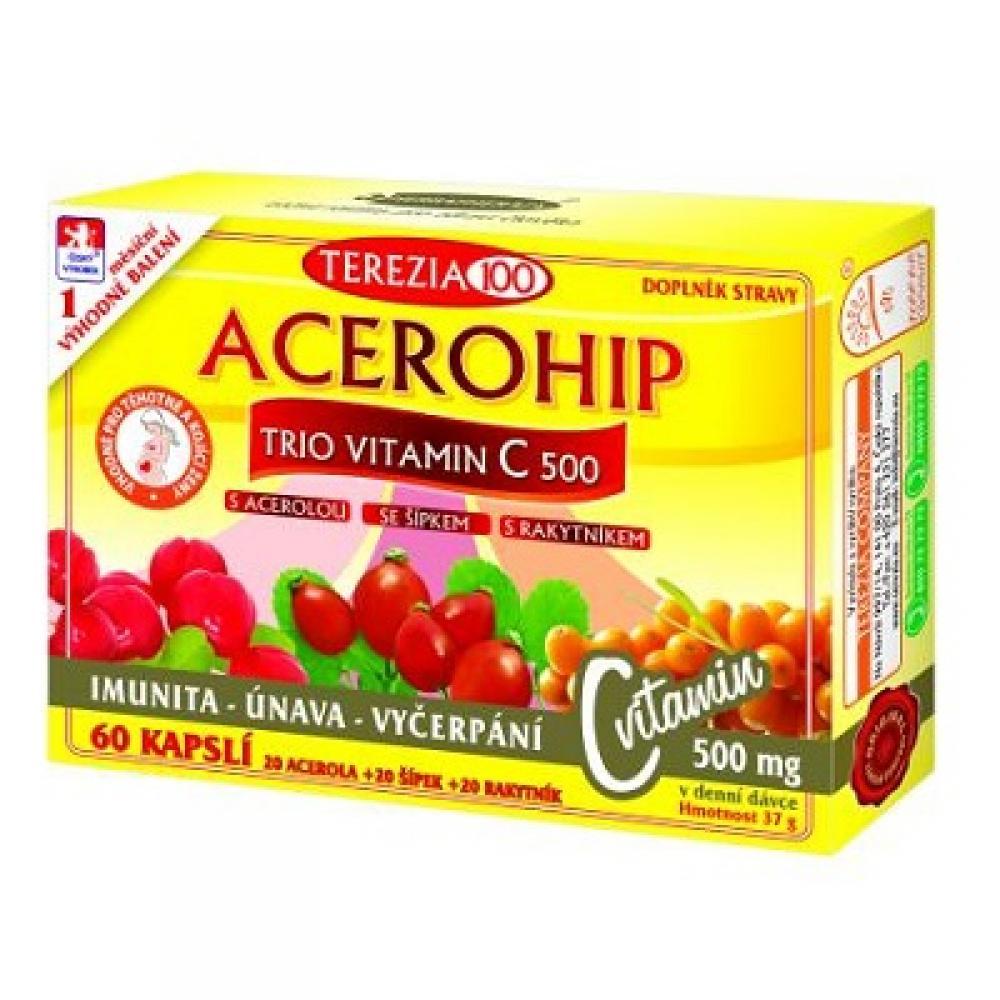 TEREZIA Acerohip Trio Vitamín C 500 mg 60 kapslí