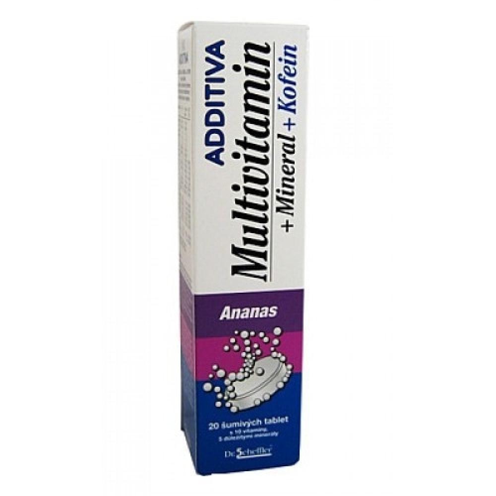 ADDITIVA Multivitamin Ananasový s minerály + kofein 20 šumivých tablet
