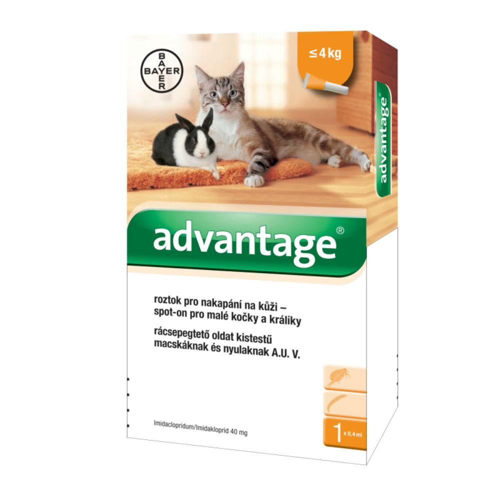 ADVANTAGE 40 10% 1x0,4 ml pro kočky do 4 kg