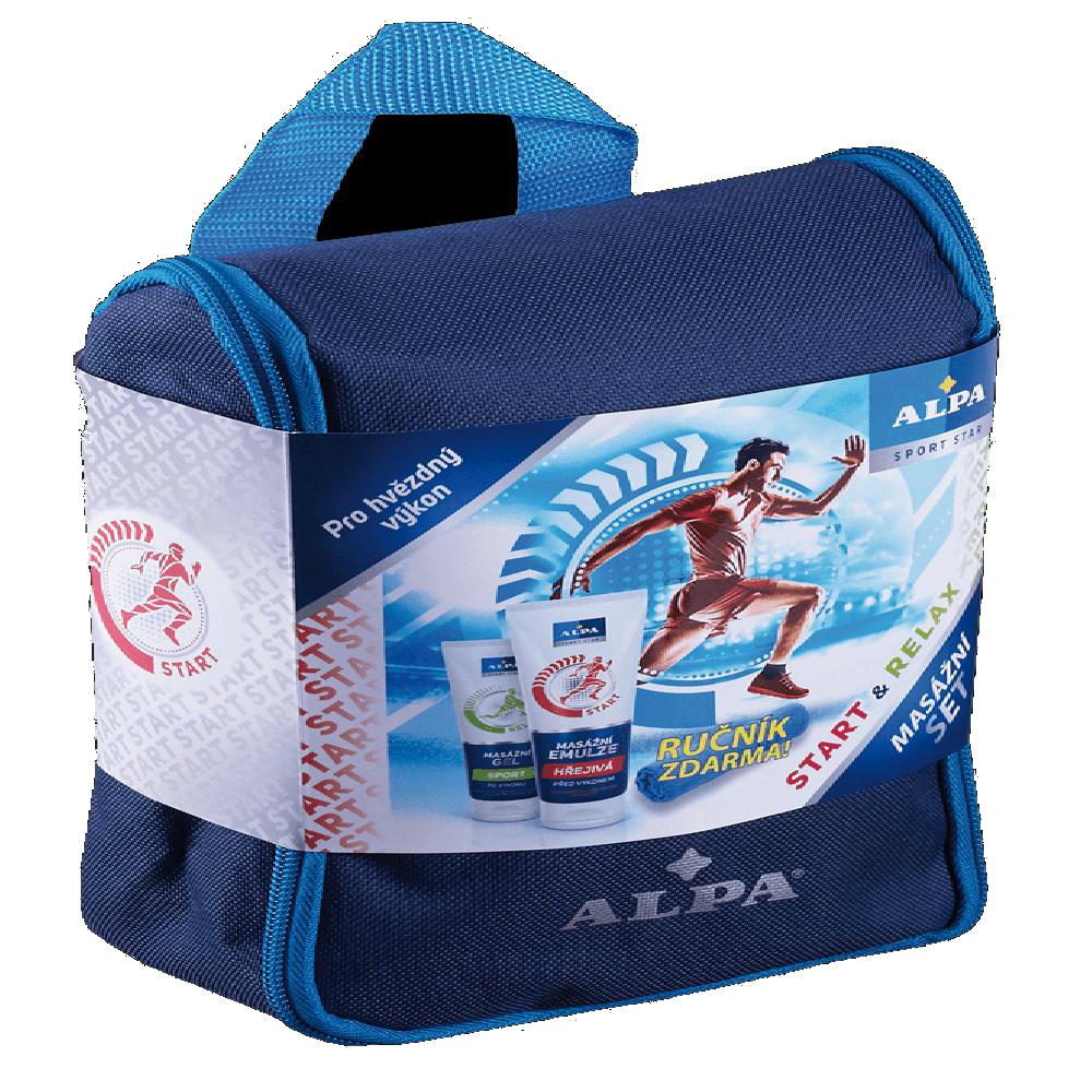 ALPA Sport dárkové balení ALPA masážní emulze HŘEJIVÁ 210 ml + ALPA SPORT gel 210 ml +ručník