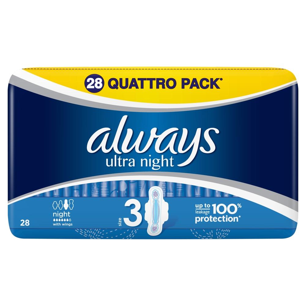ALWAYS Ultra Night Hygienické vložky s křidélky 28 ks
