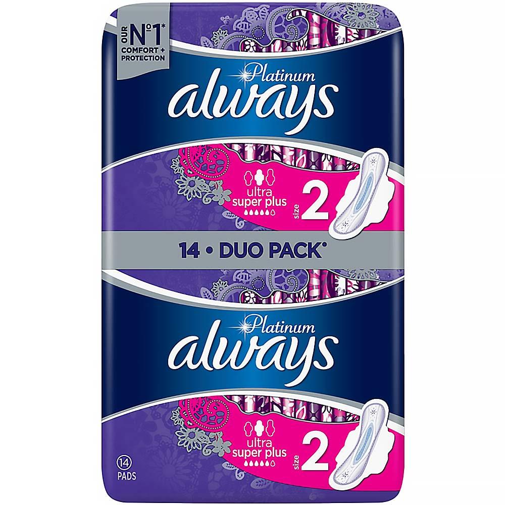 ALWAYS Platinum Long Plus (Velikost 2) hygienické vložky s křidélky 14 ks