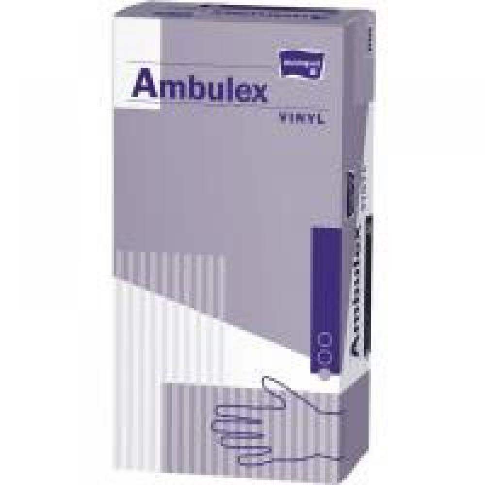 AMBULEX pudrované vinylové rukavice velikosti L 100 ks