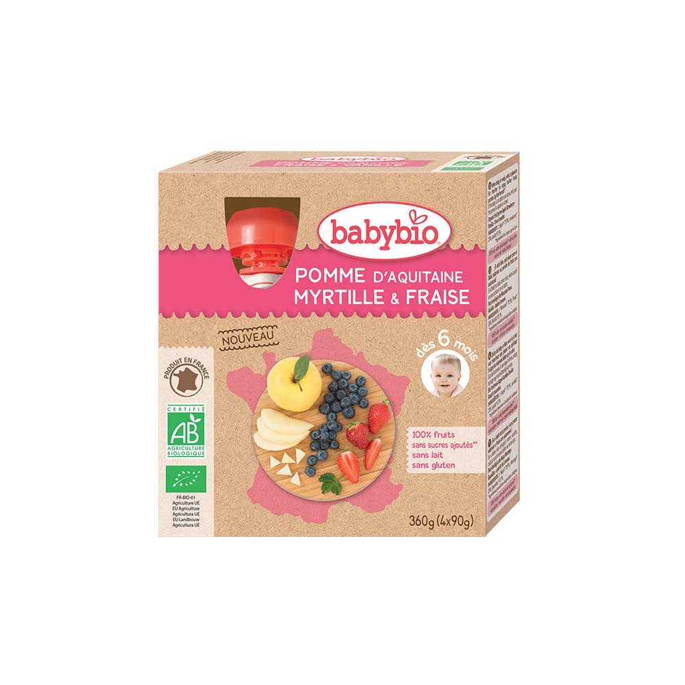 BABYBIO Ovocný příkrm Jablko, borůvky a jahody 4x90 g