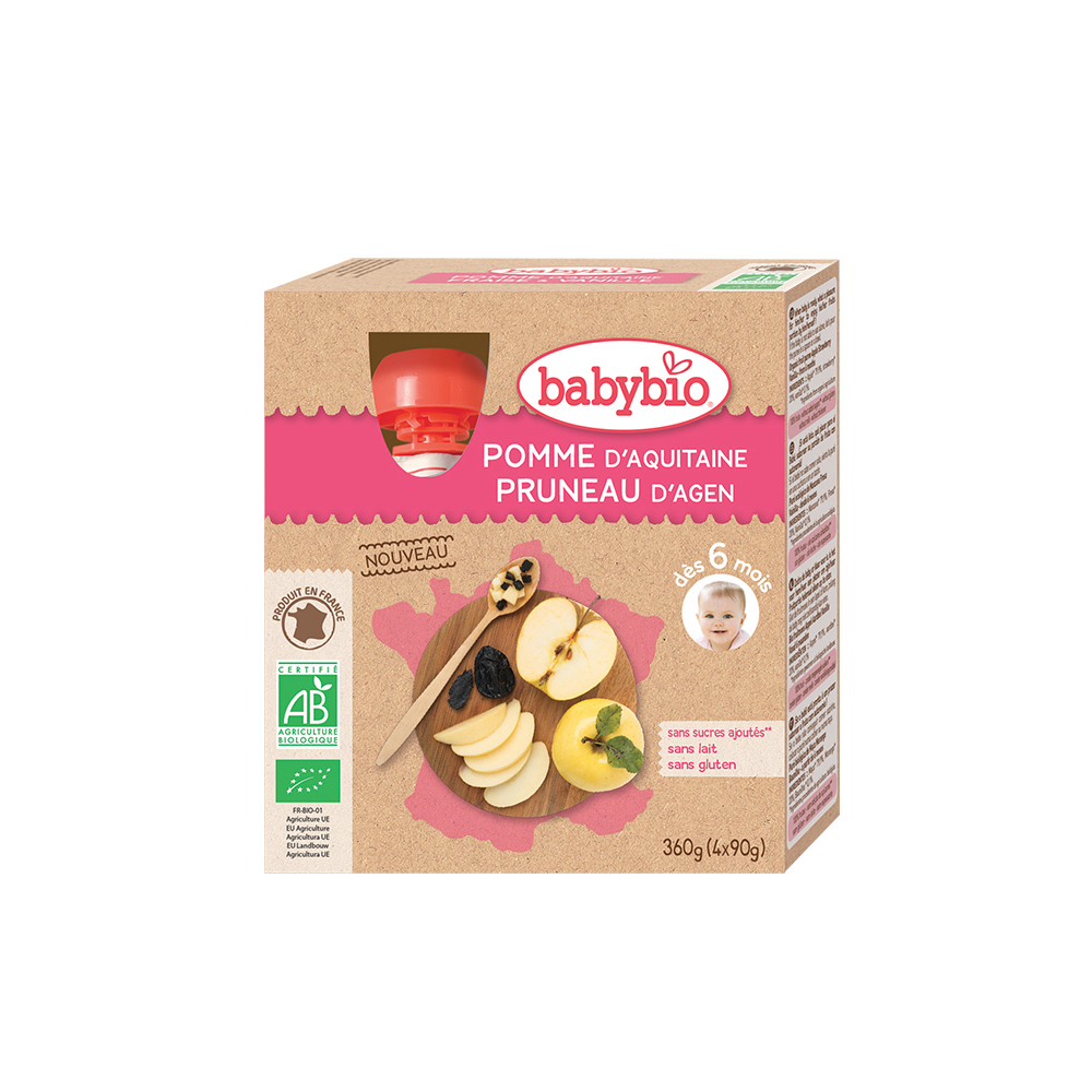 BABYBIO Ovocný příkrm Jablko a švestka 4x90 g