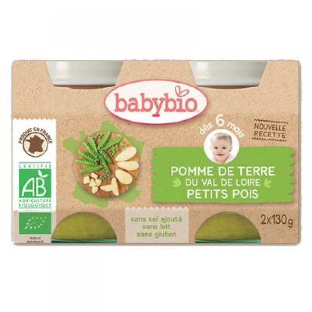 BABYBIO zeleninový příkrm brambory s hráškem 2x130 g