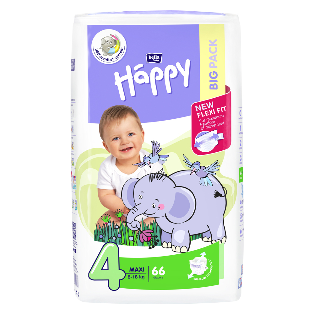 Bella Happy Maxi Big Pack 8-18 kg 66 ks