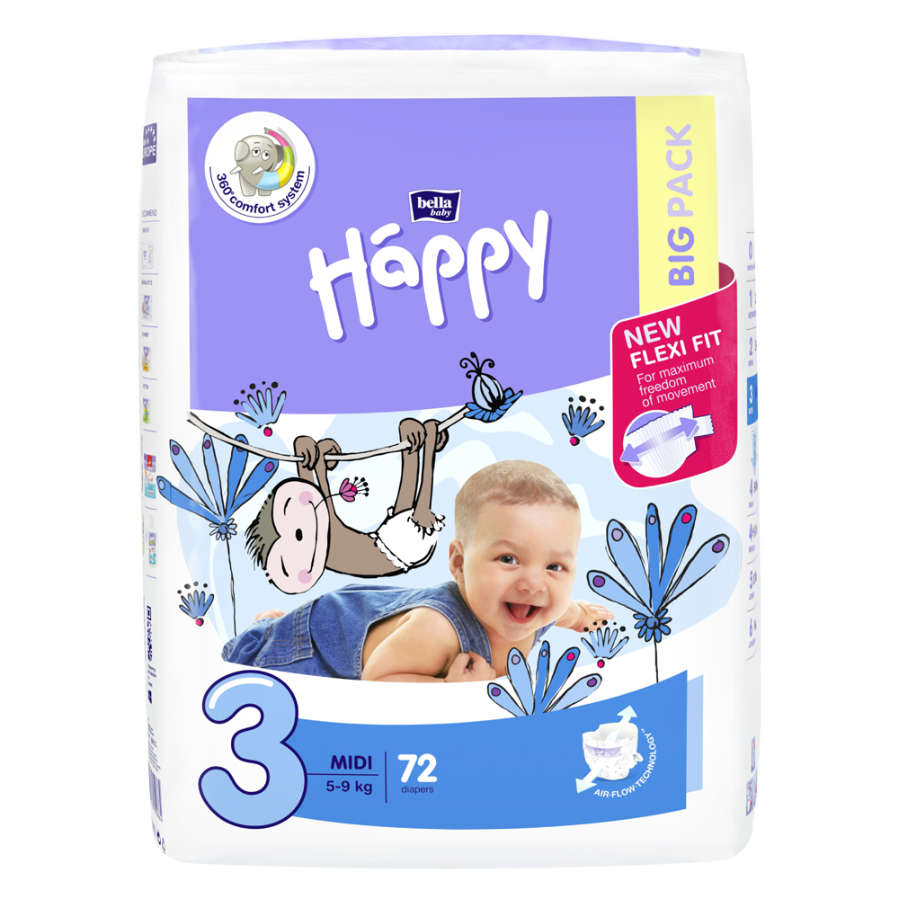 HAPPY Midi big pack dětské pleny 5 - 9 kg 72 ks