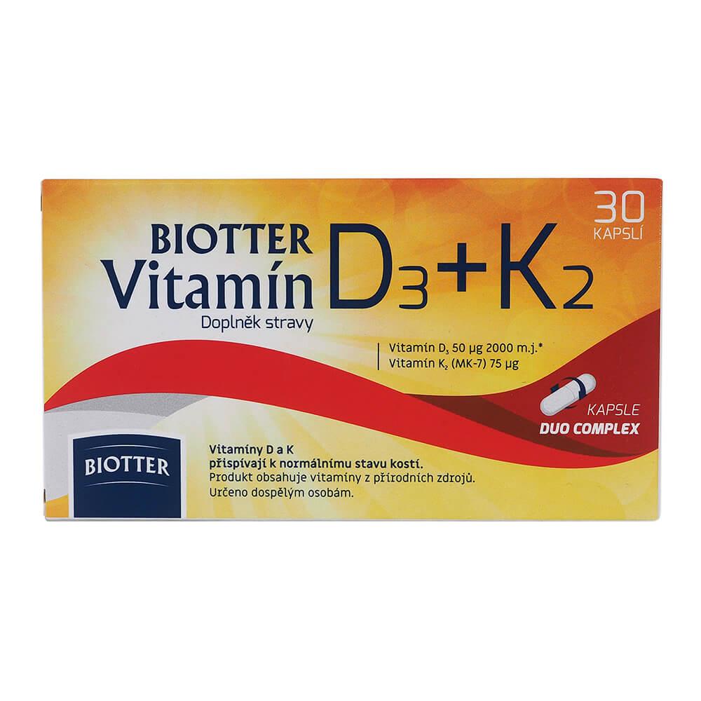 BIOTTER Vitamín D3+K2 30 kapslí
