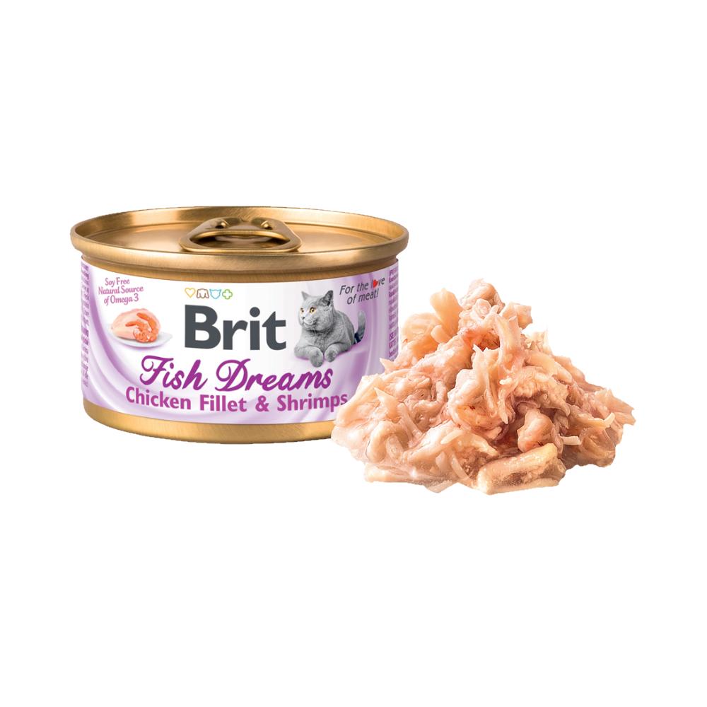 Brit Fish Dreams Chicken fillet & Shrimps konzerva pro kočky 80 g