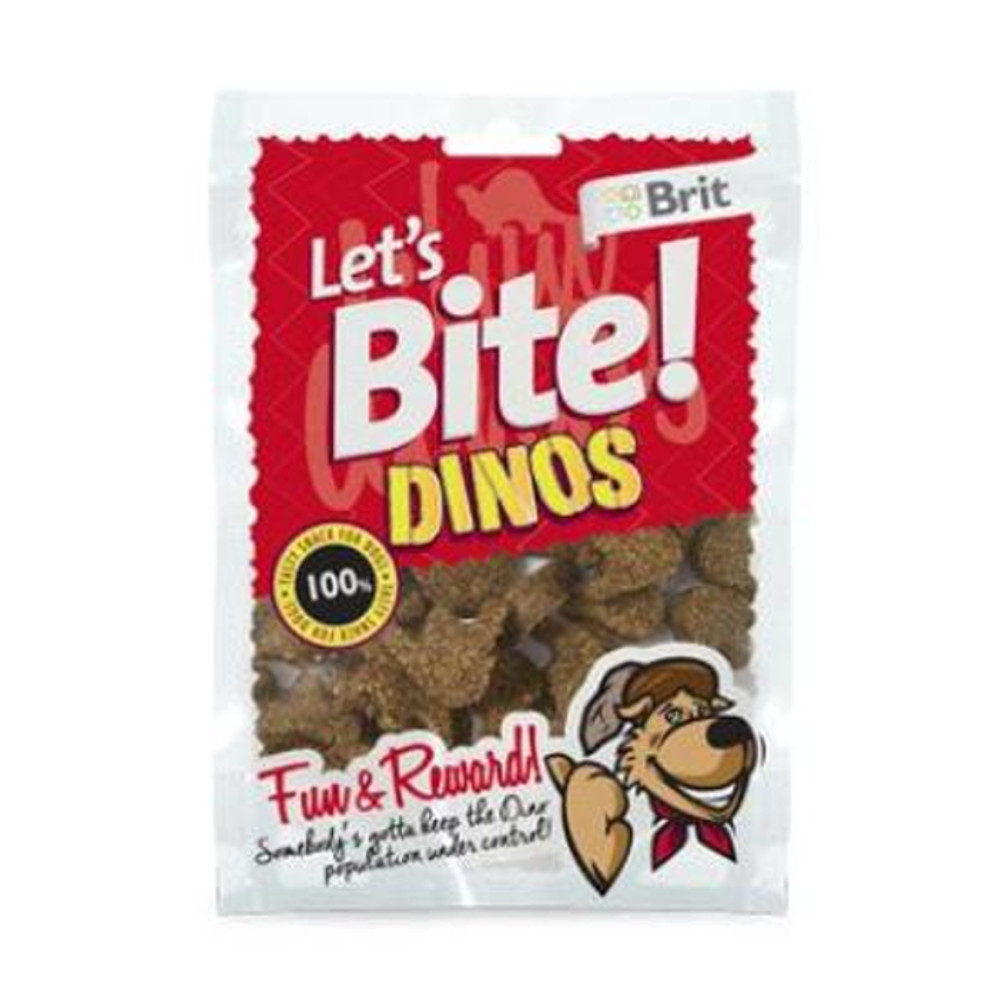 "BRIT pochoutka Let""s Bite Dinos 150 g NEW"