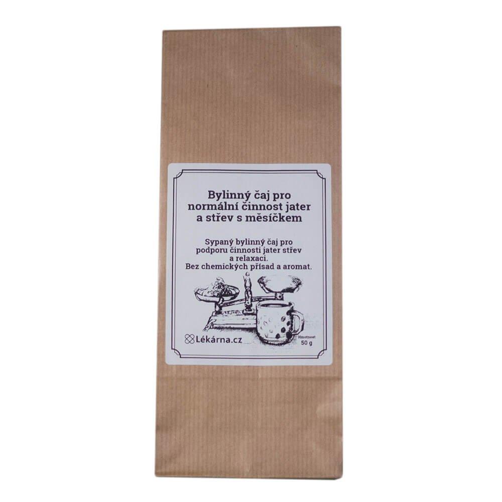 Bylinný čaj pro normální činnost jater a střev s měsíčkem od LÉKÁRNA.CZ 50 g