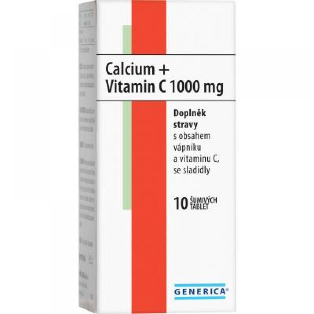 GENERICA Calcium + Vitamin C 1000 mg 10 rozpustných tablet
