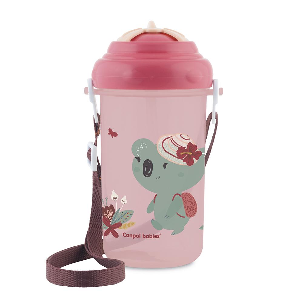 CANPOL BABIES Cestovní sportovní láhev se slámkou a víčkem Koala růžová 400 ml