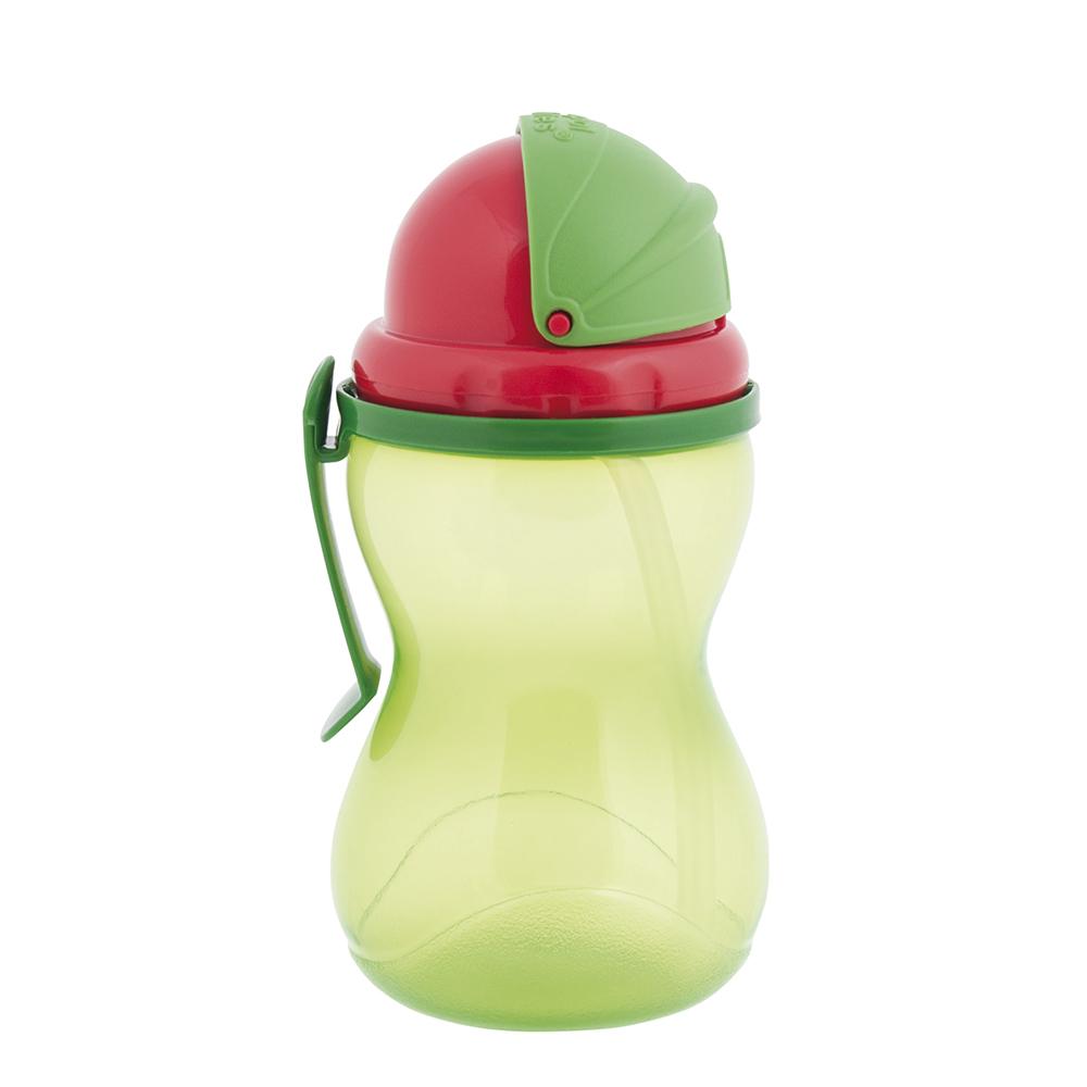 CANPOL BABIES Láhev sportovní se slámkou zelená 370 ml