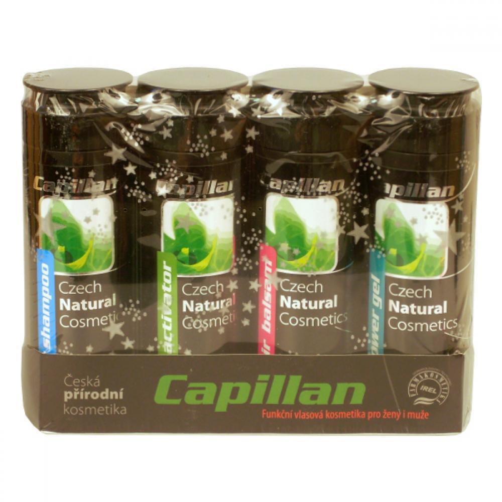 Capillan S dárková sada 4x200 ml aktivátor 200ml + šampon pro všechny druhy vlasů 200ml + balzám 200ml + sprchový gel 200ml