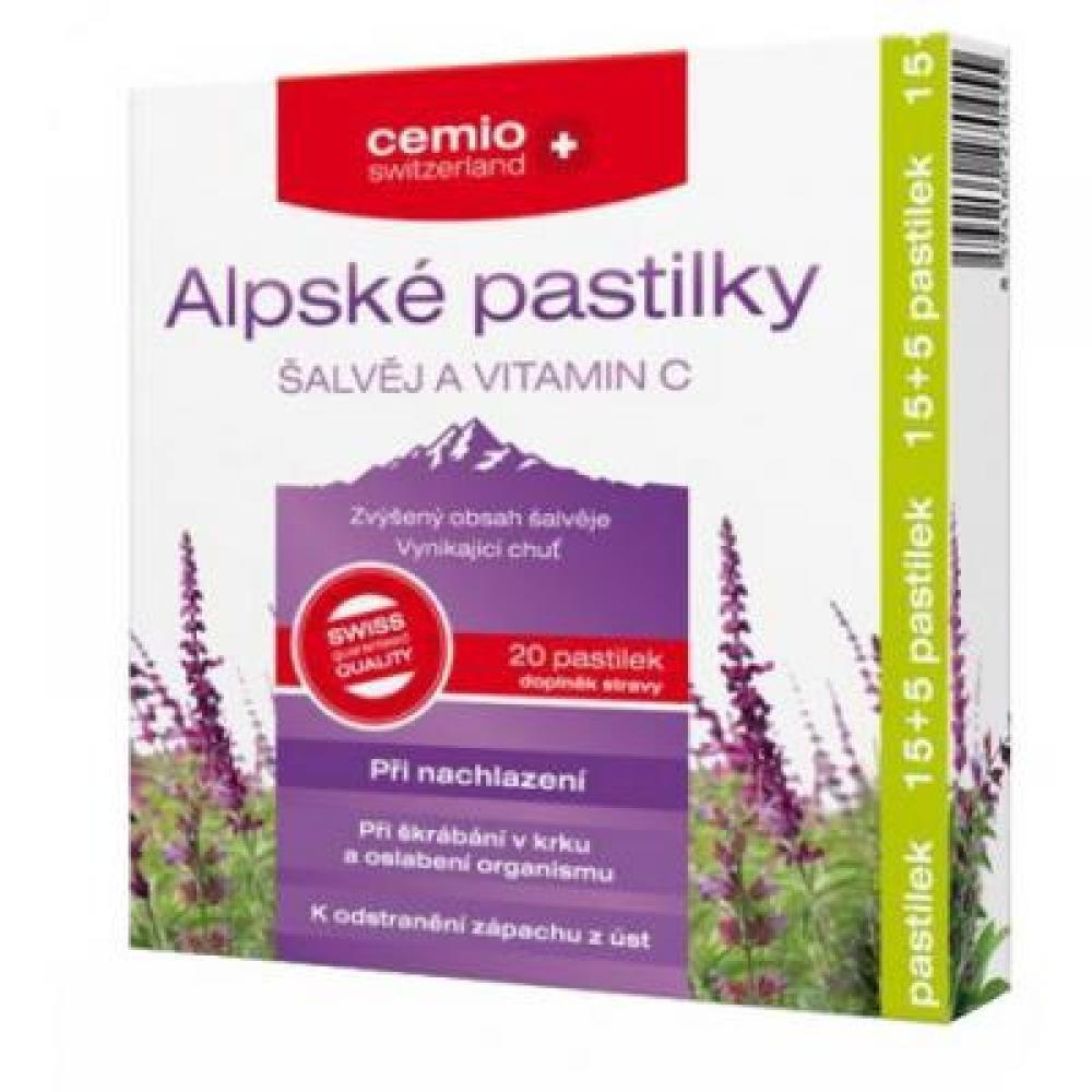 CEMIO Alpské pastilky šalvěj a Vitamín C 15 + 5 pastilek ZADARMO