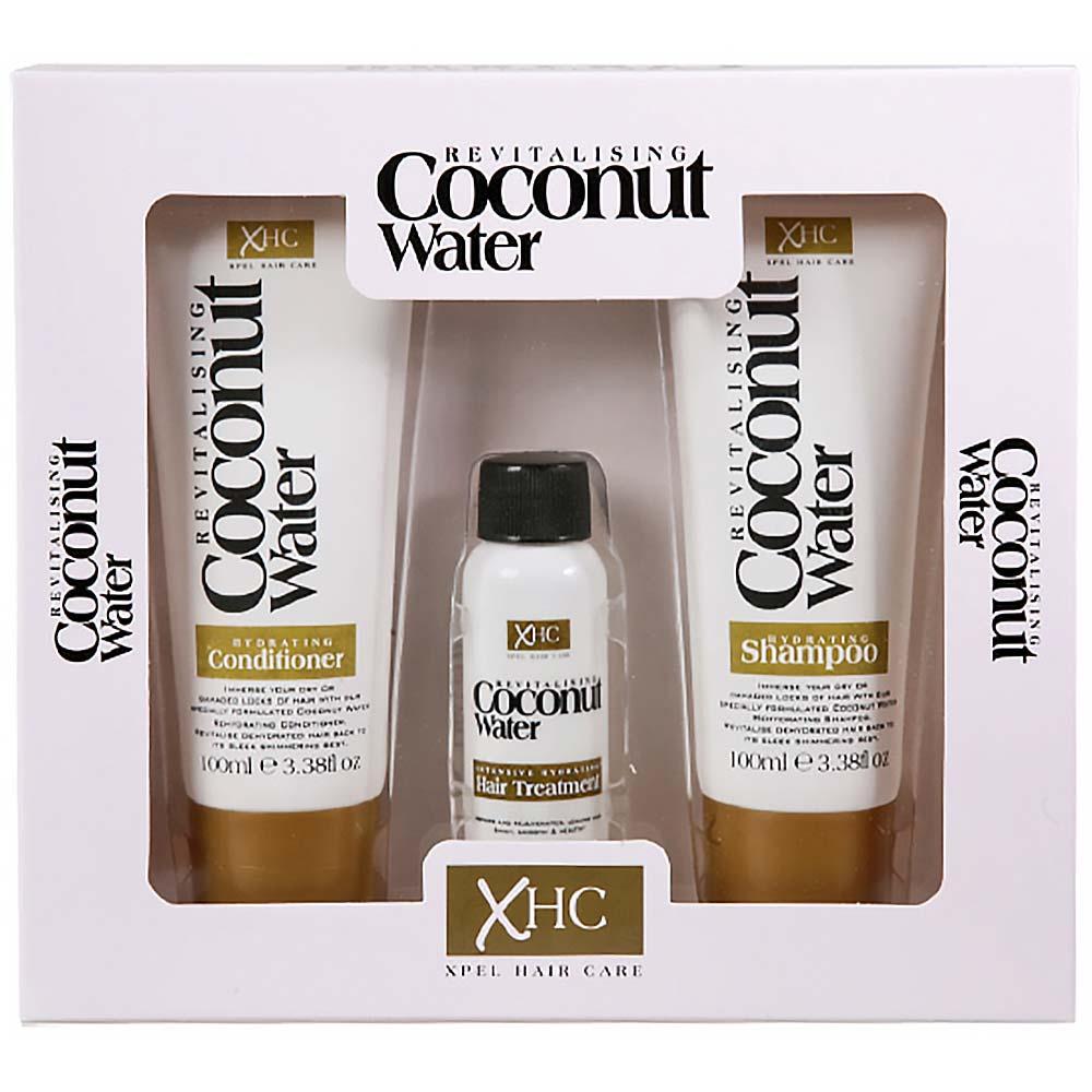 Xpel COCONUT WATER dárkový box vlasové kosmetiky šampon 100 ml + kondicionér 100 ml + vlasové sérum 30 ml