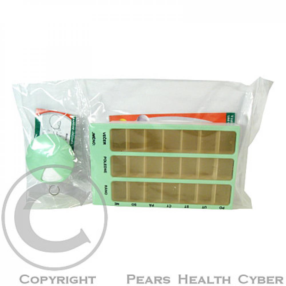 Dávkovač léků OBZOR SET 02 zelený + 05 kapesní