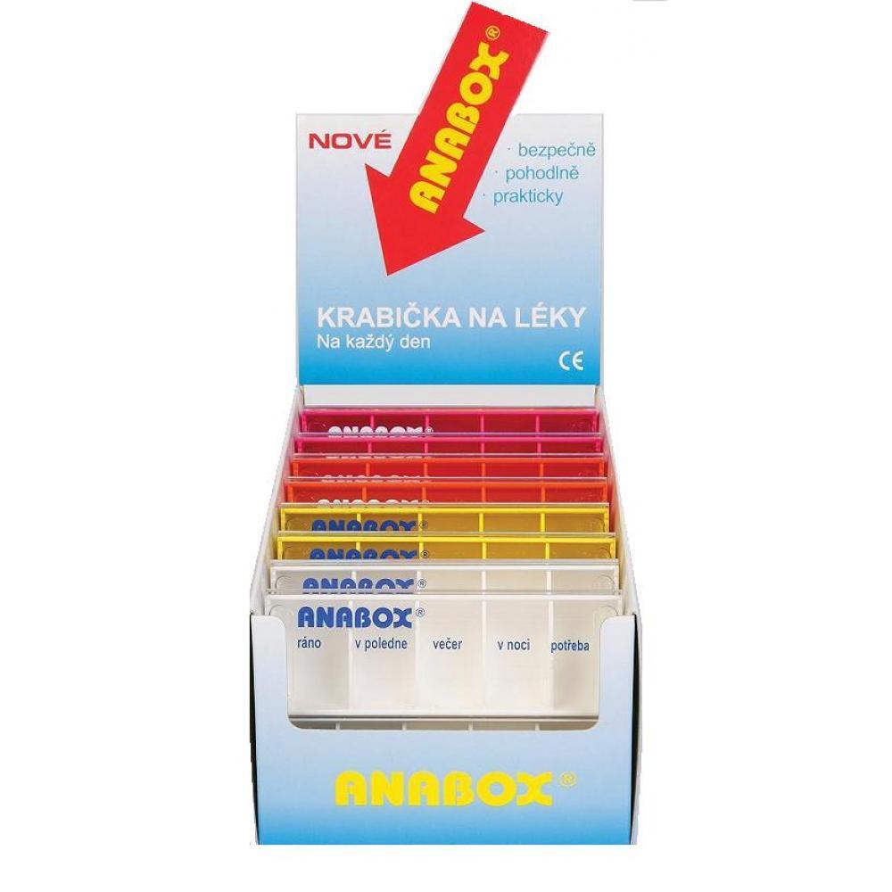 Dávkovač na léky ANABOX Denní box barevný