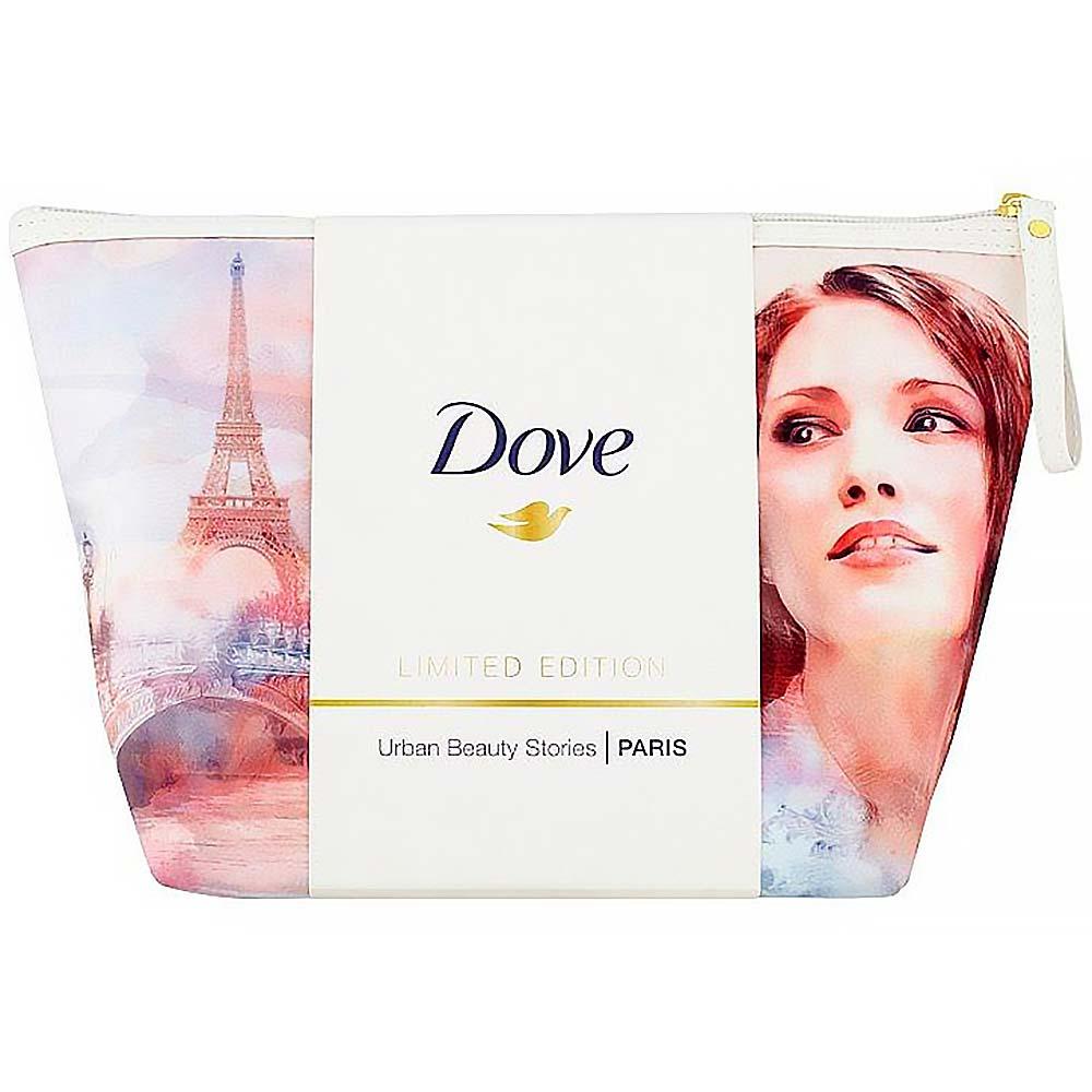 DOVE Paris Dove Antistress Micellar Water Sprchový gel 250 ml + Dove Pink tuhé mýdlo 100 g + Dove Invisible Floral Touch deodorant 150 ml+ Kosmetická taškau