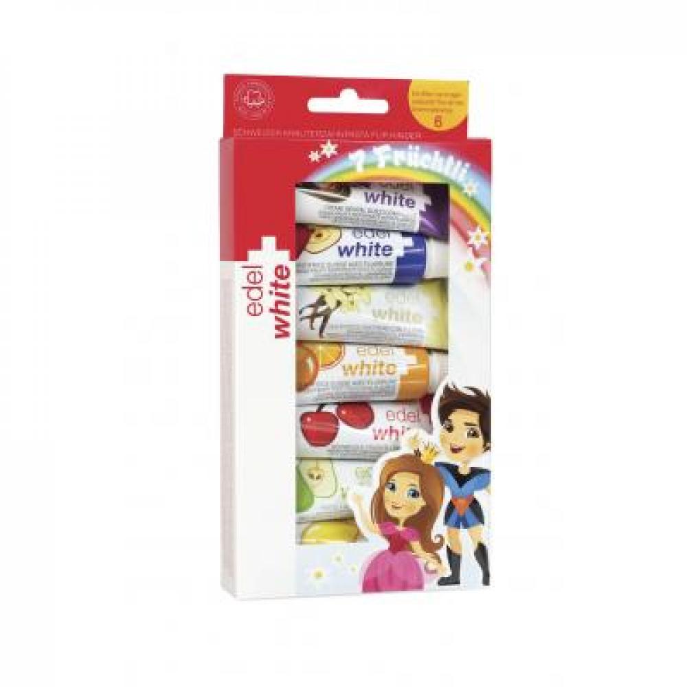 Edel+White Ovocné zubní pasty pro děti 7 x 9,3 ml
