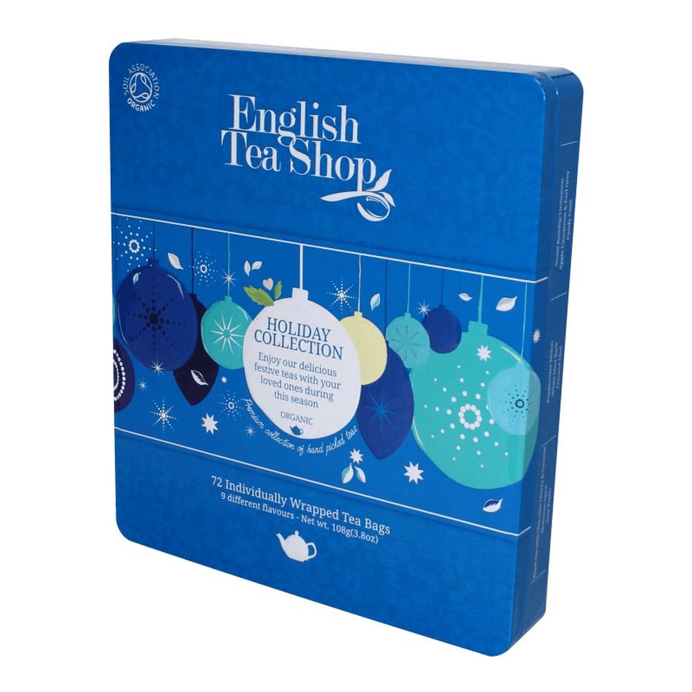 ENGLISH TEA SHOP Bio čaj v plechové kazetě Modré ozdoby 72 sáčků