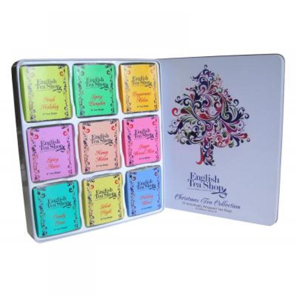ENGLIS TEA Dárkový plechový box Vánoční strom BIO 72 sáčků