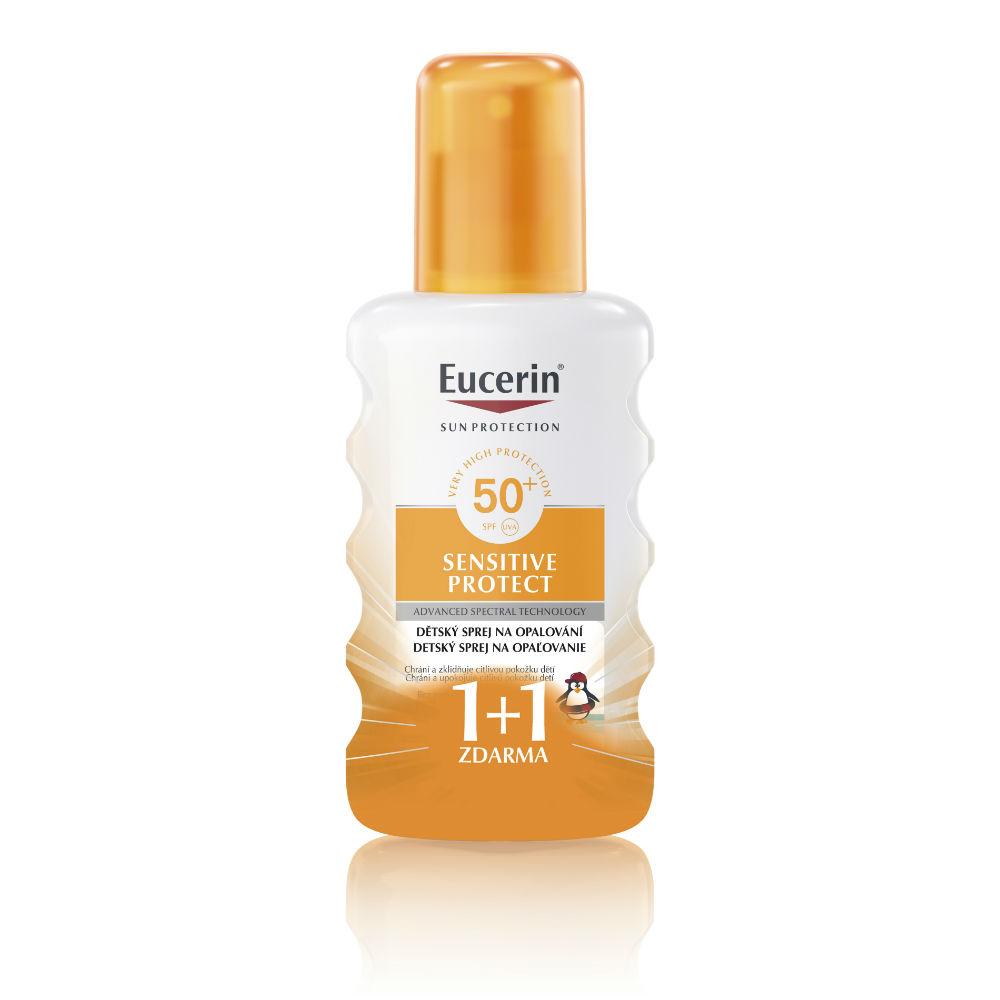 EUCERIN Dětský sprej na opalování Sensitive Protect SPF 50+ (1+1 zdarma)