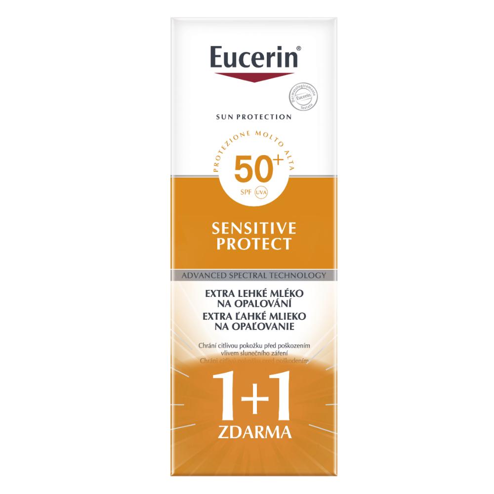 EUCERIN Extra lehké mléko na opalování Sensitive Protect SPF 50+ (1+1 zdarma)