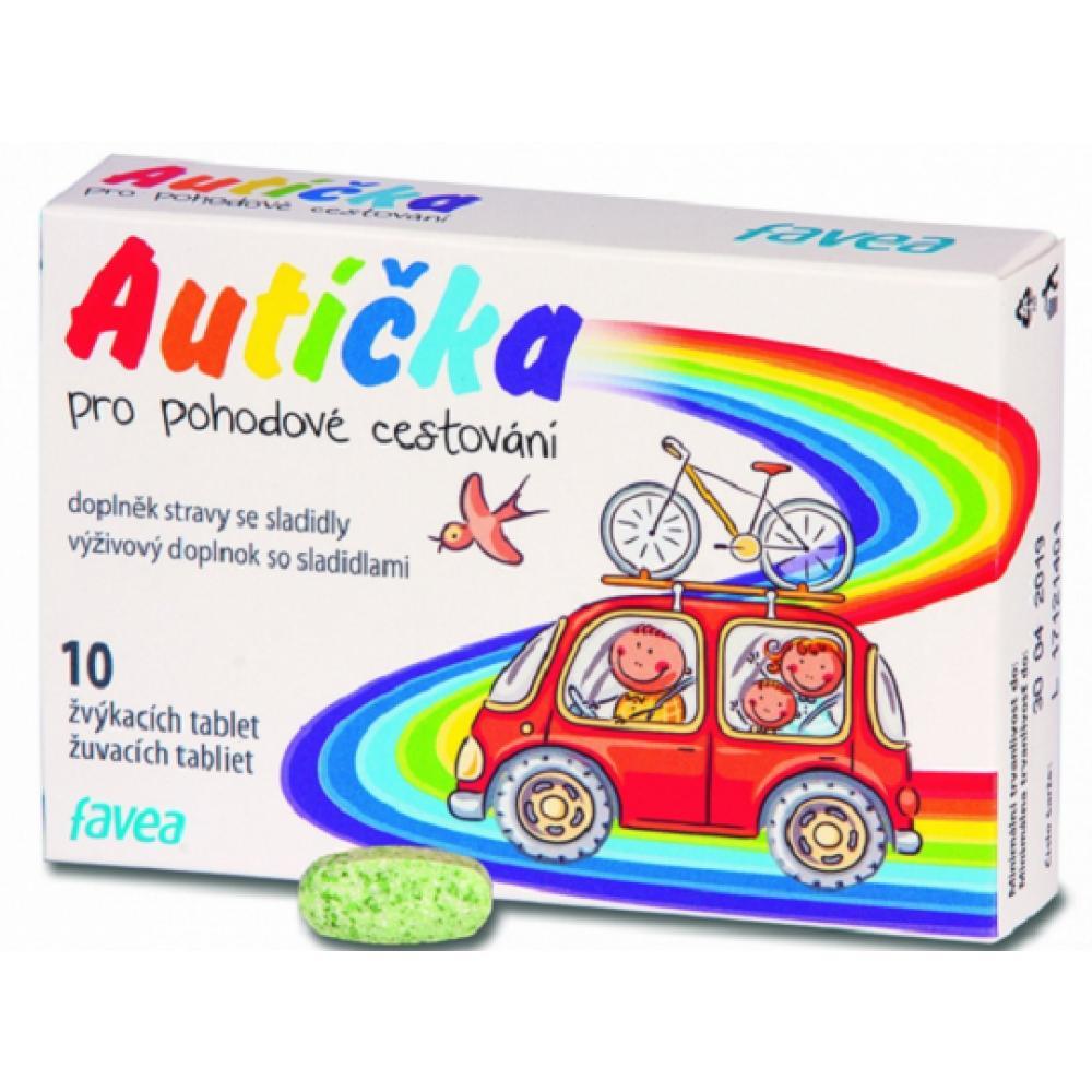 FAVEA Autíčka pro pohodlné cestování 10 žvýkacích tablet