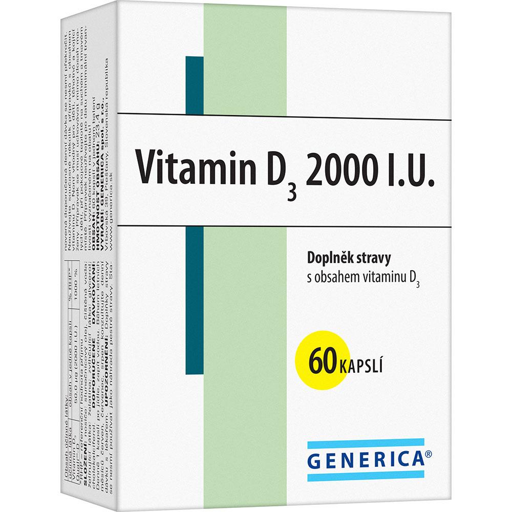 GENERICA Vitamin D3 2000 I.U. 60 kapslí