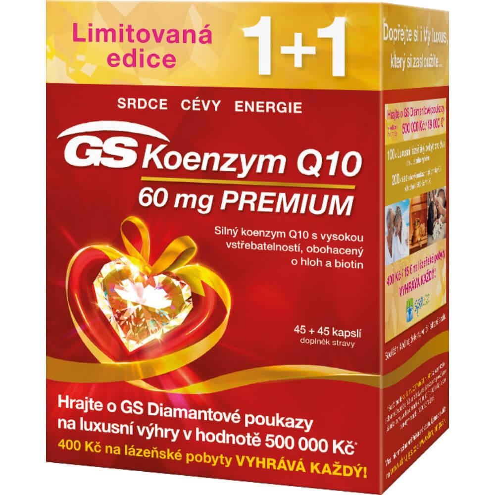 GS Koenzym Q10 60mg Premium 45+45 kapslí dárek 2017