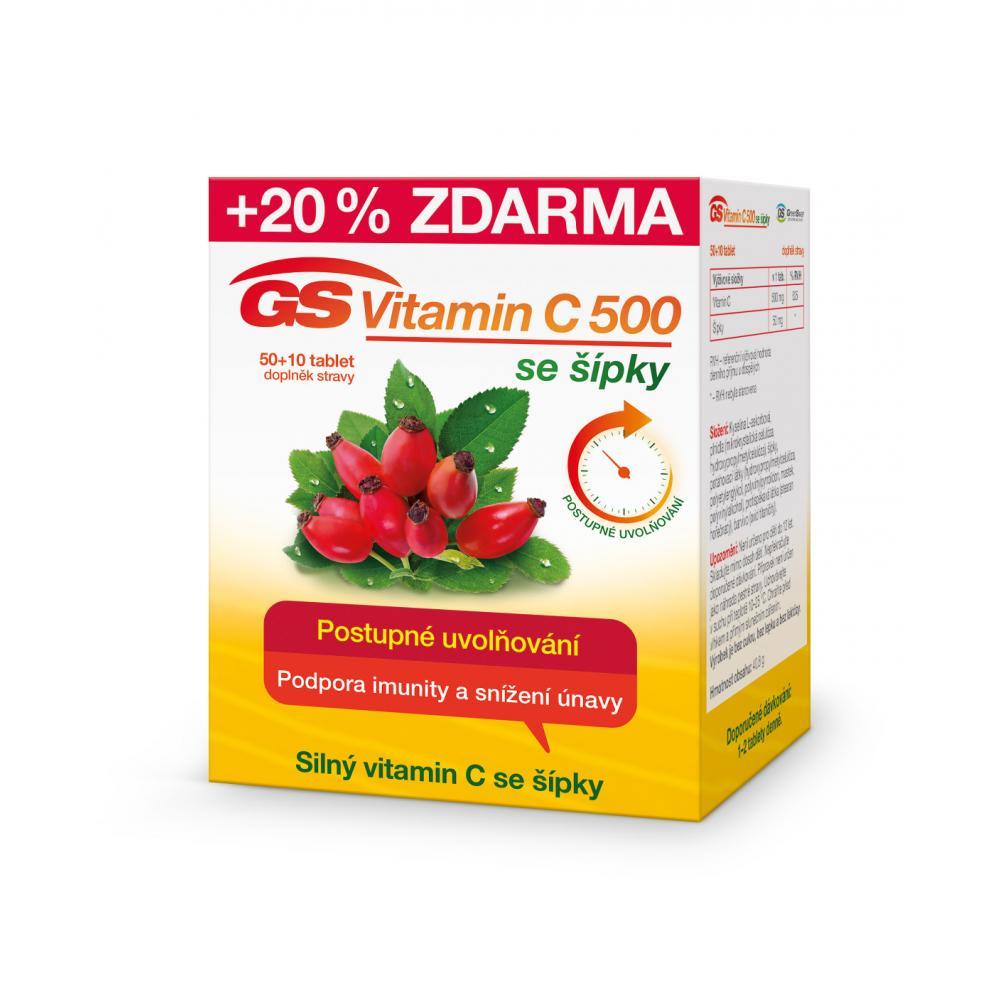 GS Vitamin C 500 se šípky 50 + 10 tablet