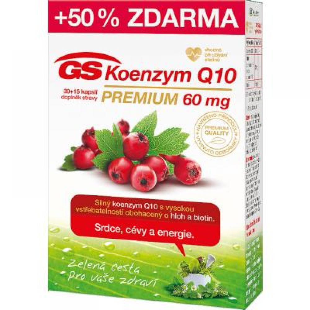 GS Koenzym Q10 60 mg Premium 30+15 kapslí