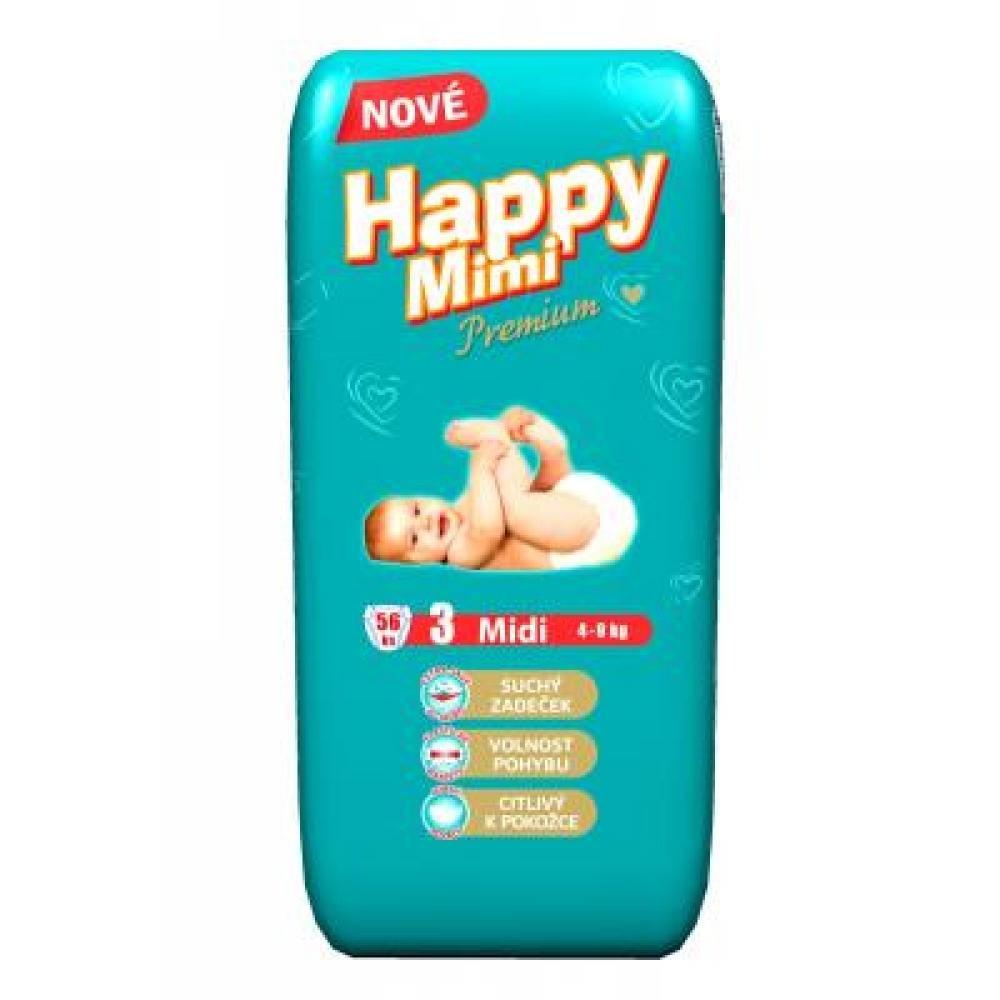 Happy Mimi dětské pleny Premium Midi 56 kusů