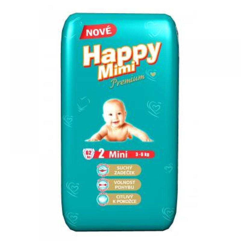 Happy Mimi dětské pleny Premium Mini 62 kusů