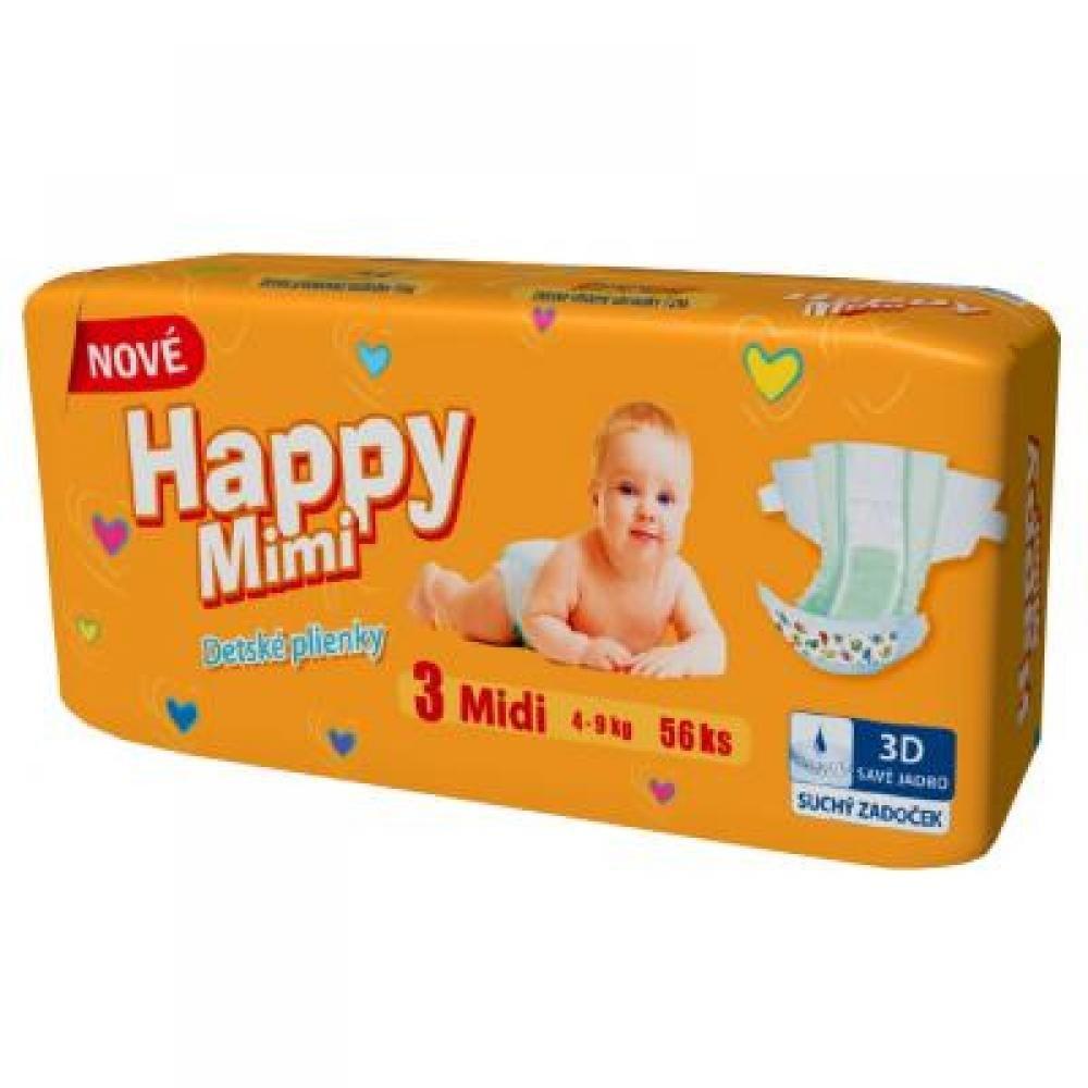 Happy Mimi dětské pleny Standard Midi 56 kusů