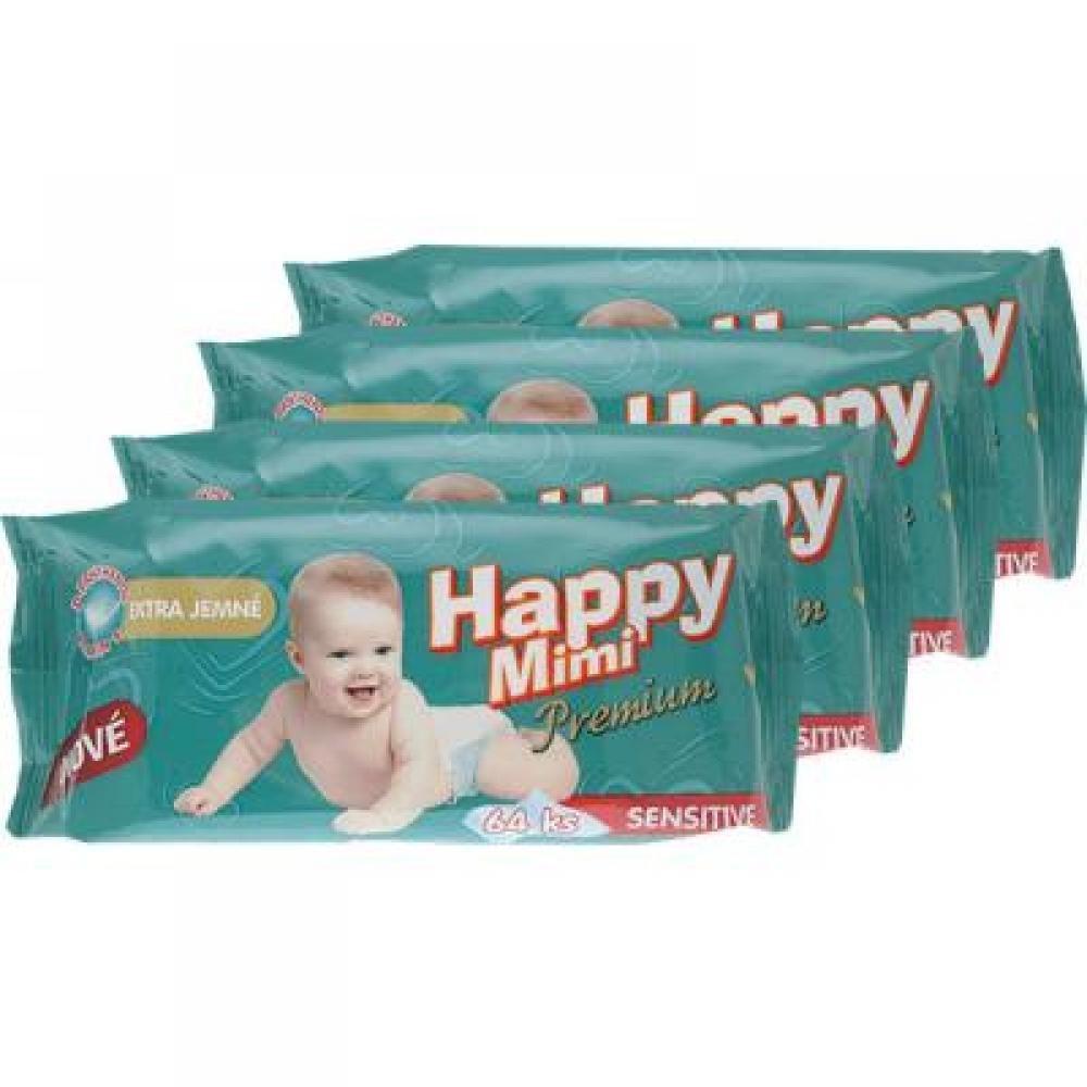 HAPPY MIMI Dětské vlhčené ubrousky Premium 4x64 kusů