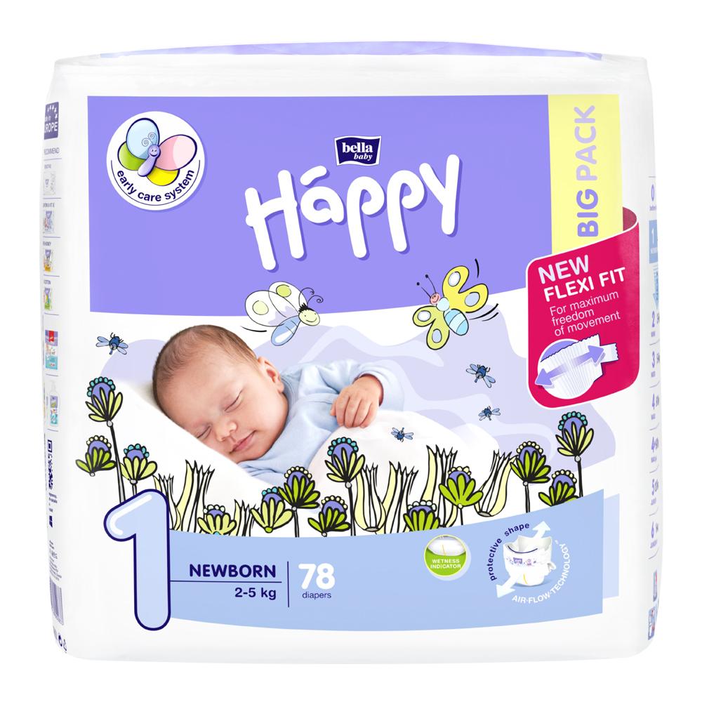 HAPPY Newborn Big Pack dětské pleny 2-5 kg 78 ks