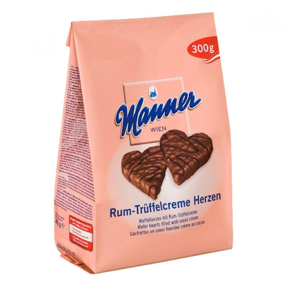 Manner Herzen 300 g oplatkové srdce kakao + rum v čokoládě
