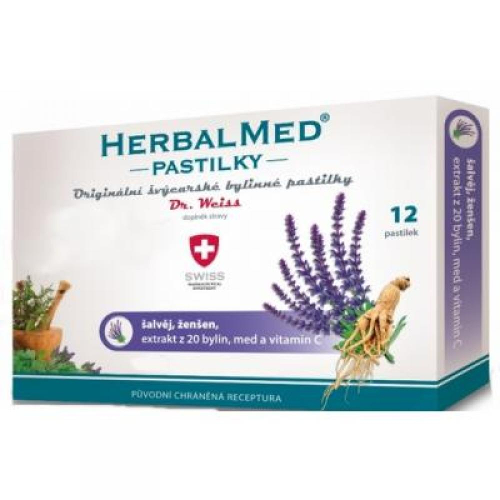 HERBALMED Dr.Weiss pastilky Šalvěj, ženšen, vitamin C 12 pastilek