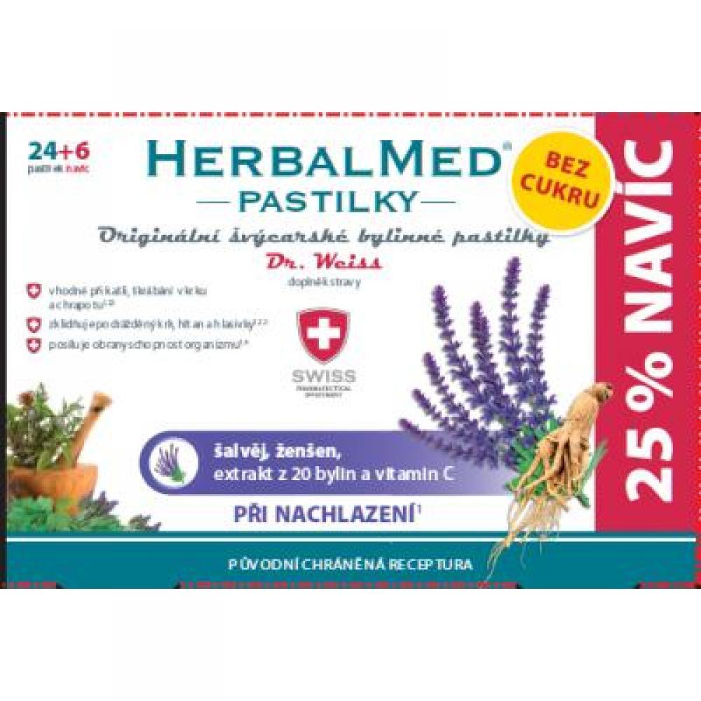 HerbalMed pastilky Dr.Weiss BEZ CUKRU Šalvěj, ženšen + vitamín C 24+6