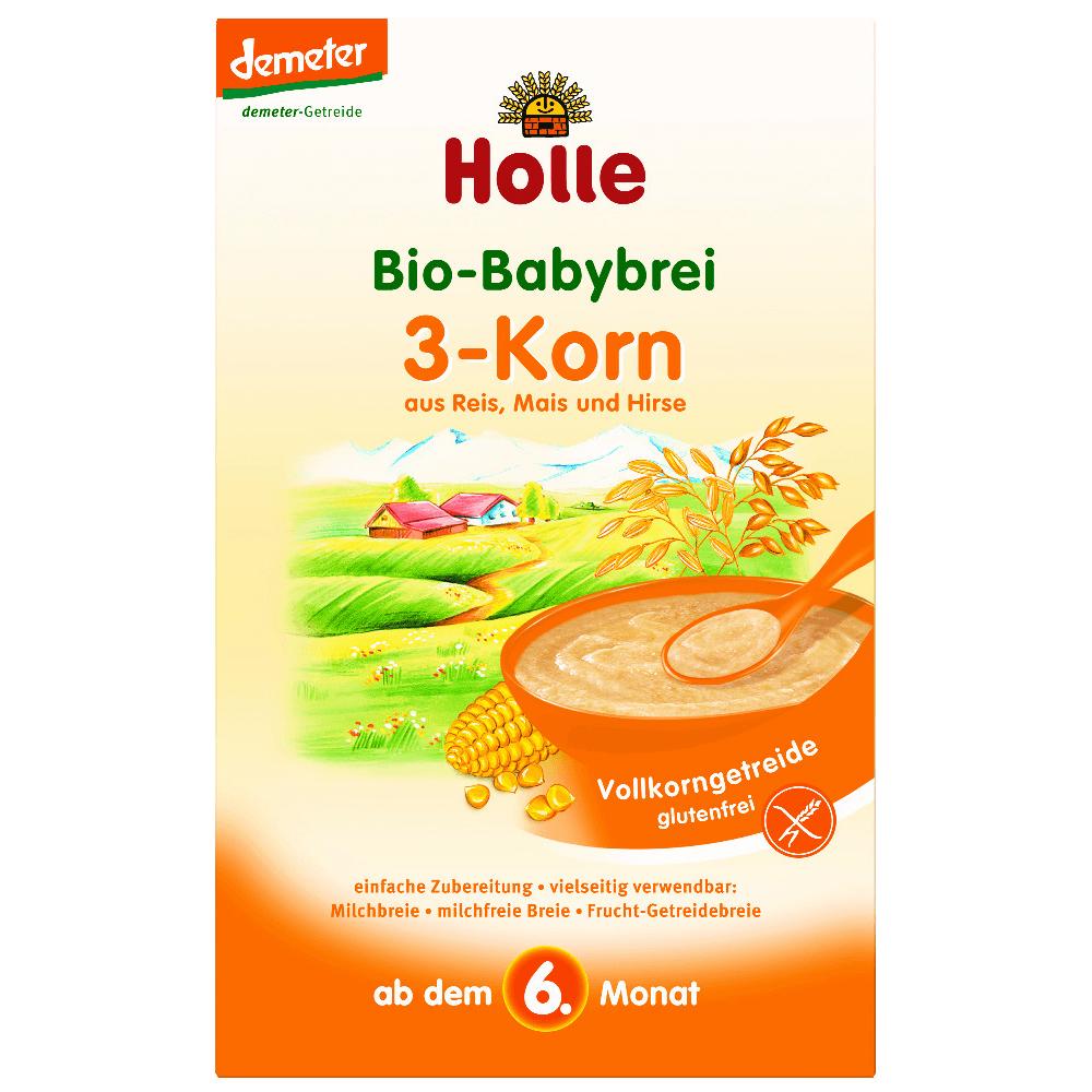 HOLLE Baby Bio kaše 3 druhy zrna bezmléčná 250 g