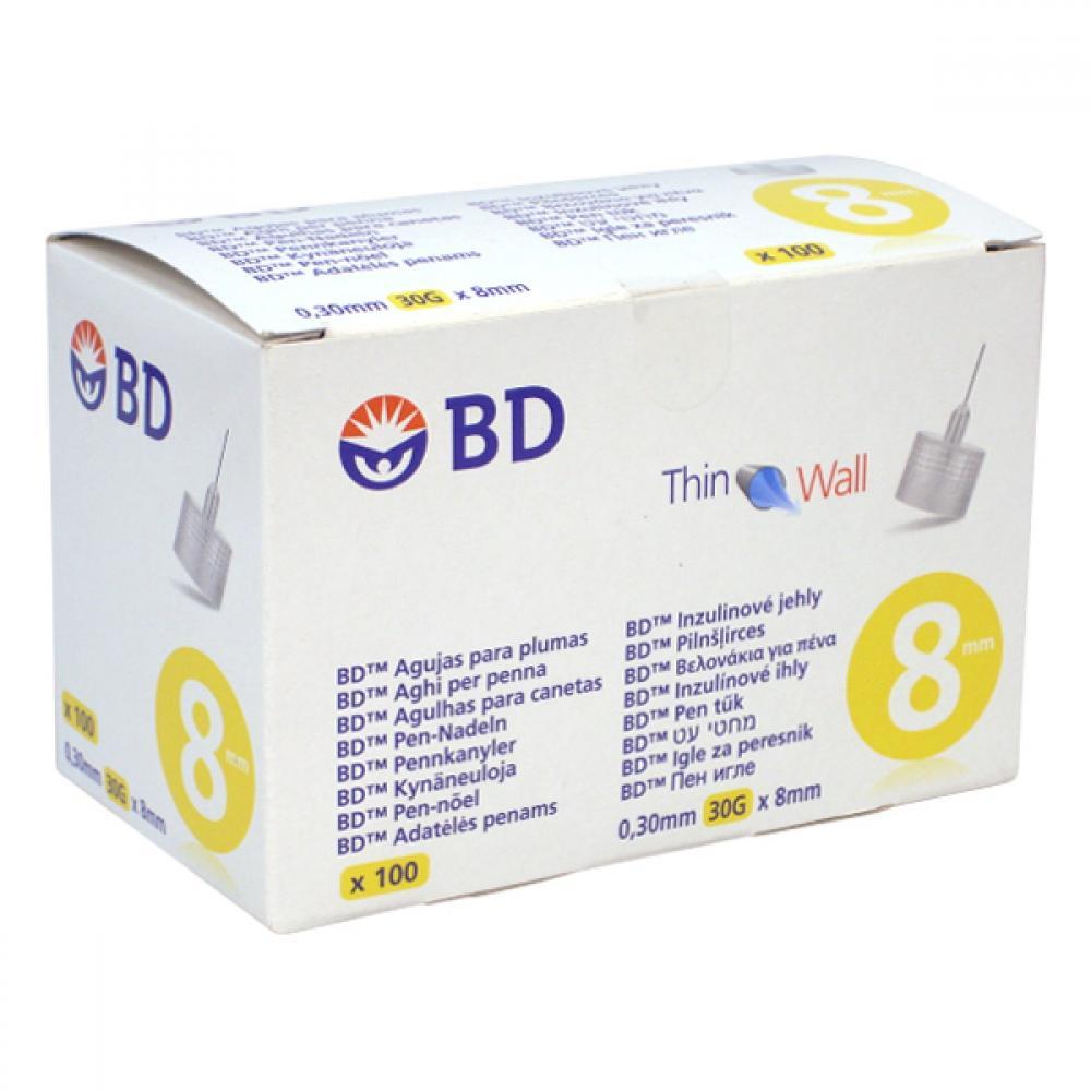 Inzulinové jehly BD 0.30 x8 mm (30G) 100ks