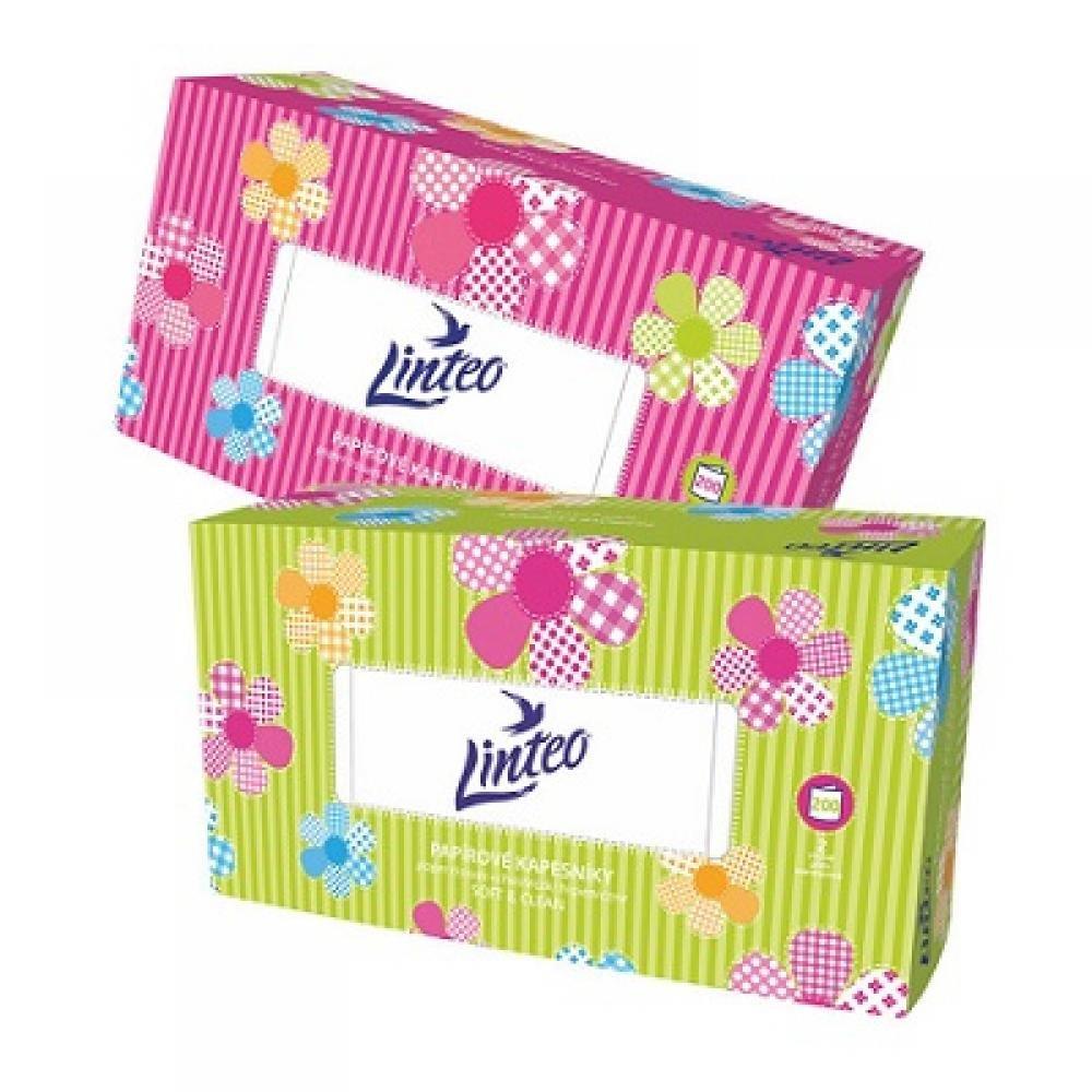 LINTEO Papírové kapesníky BOX 2-vrstvé 200 kusů