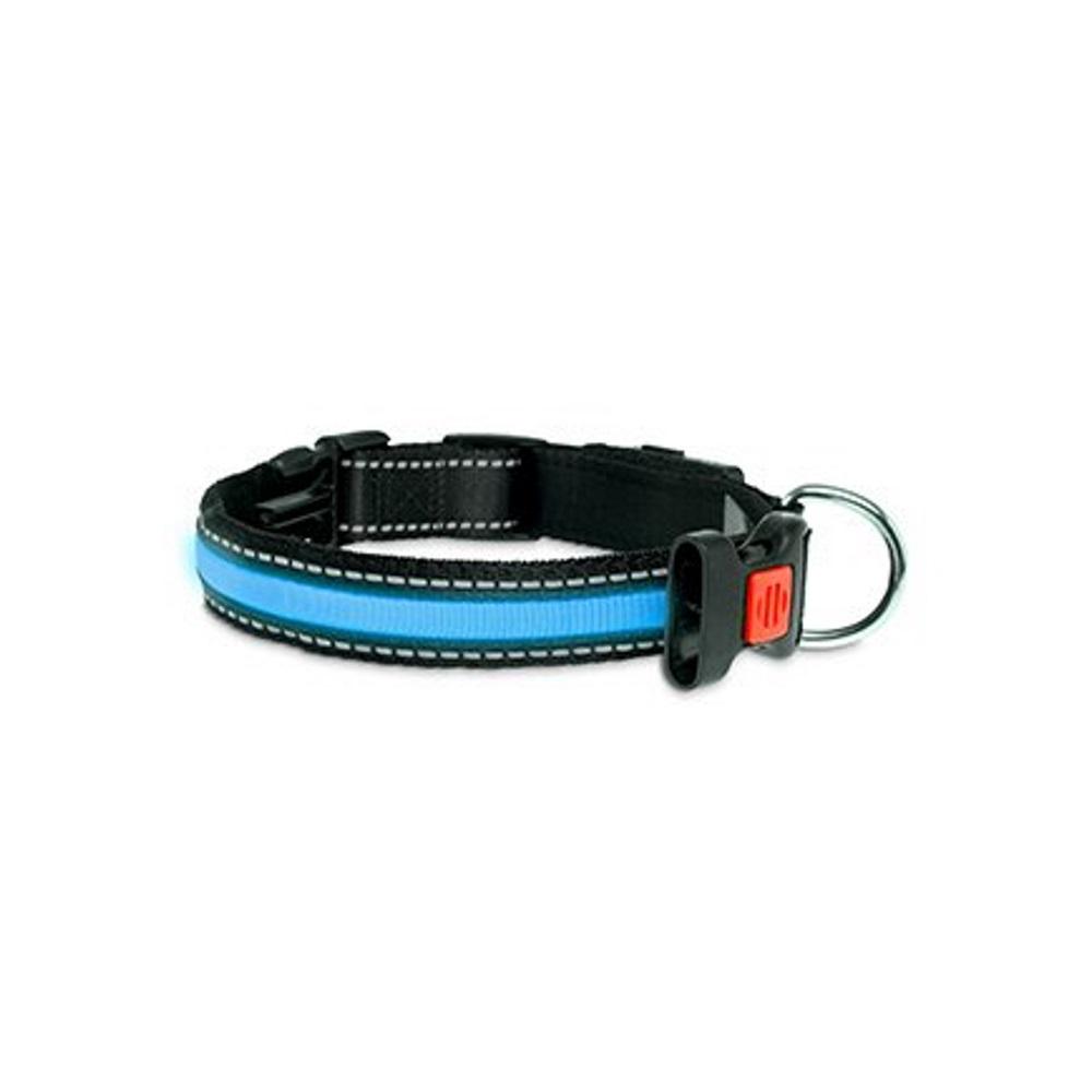KARLIE FLAMINGO LED nylonový obojek pro psy s USB nabíjením modrý 66 cm