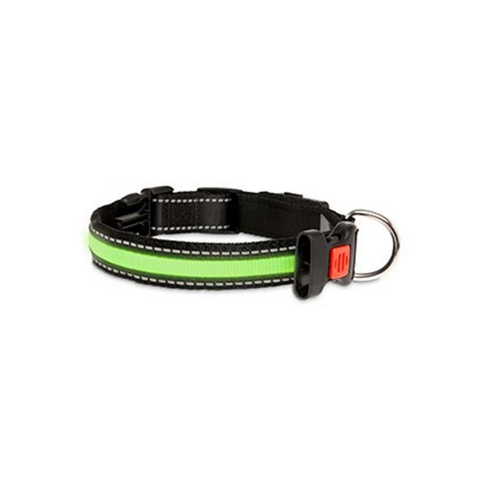 KARLIE FLAMINGO LED nylonový obojek pro psy s USB nabíjením zelený 66 cm
